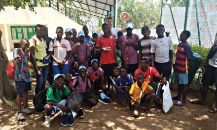 Spain's Hugo Largo wins hearts in Abuja, donates racket strings to kids