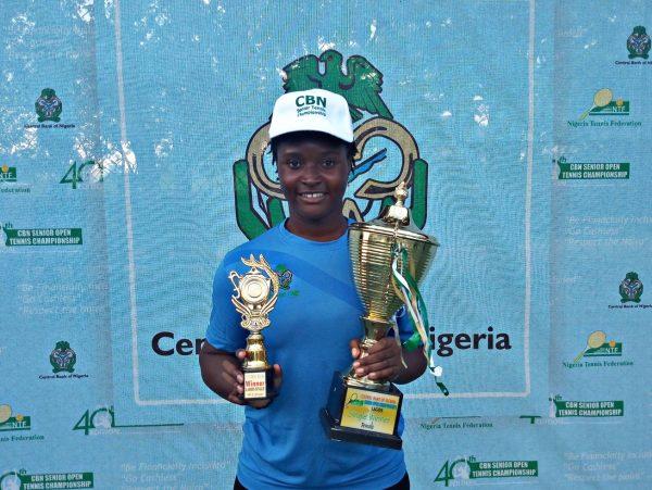 Sarah Adegoke with her trophies