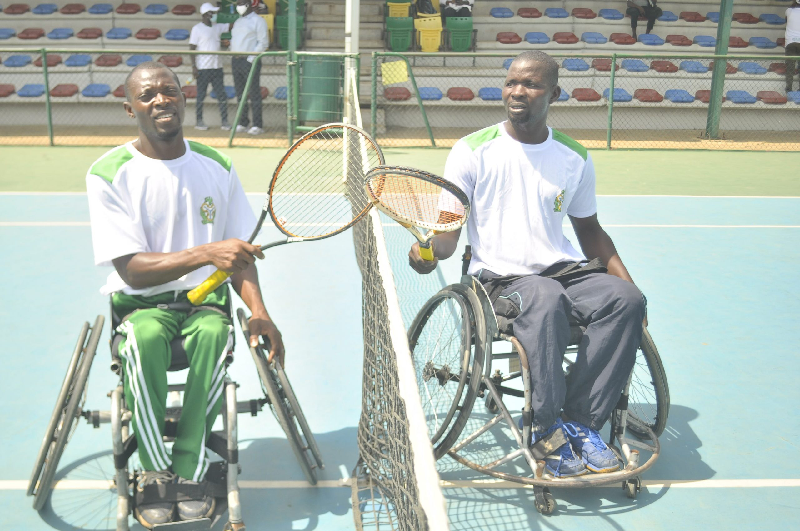 Alex Adewale and Wasiu Yusuf after the Mens Wheelchair Final scaled